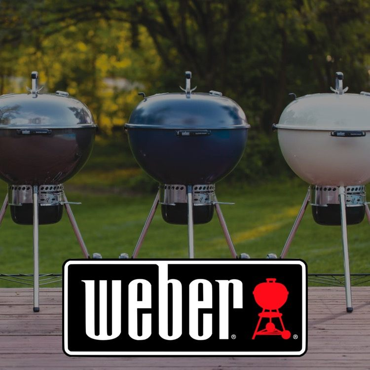 Three Weber grills with logo