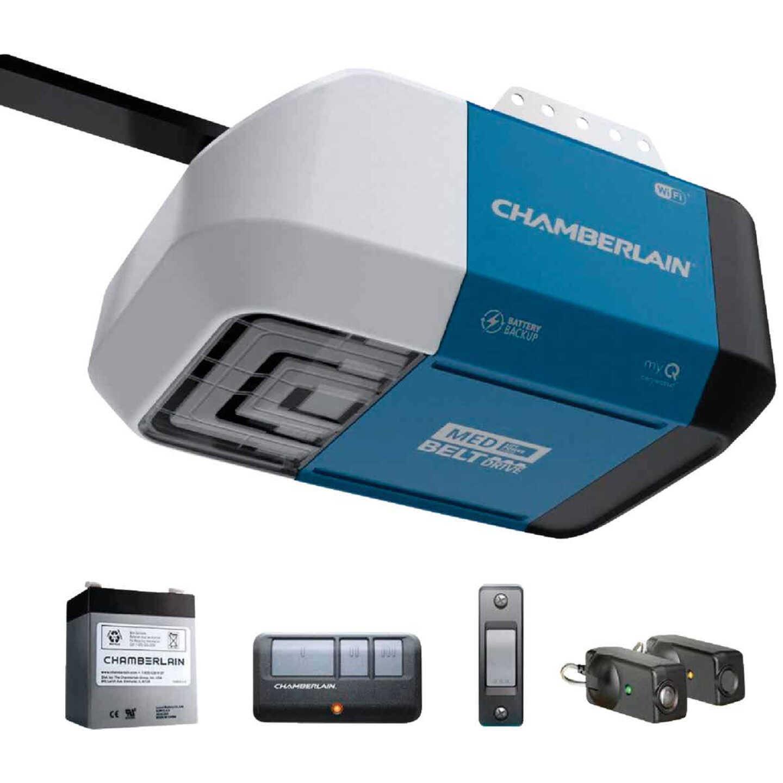 Chamberlain B2212T 1/2 HP myQ Smart Belt Drive Garage Door Opener with WiFi and Battery Backup Image 1