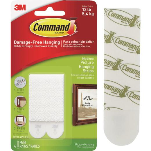 Command 3/4 In. x 2-3/4 In. White Interlocking Picture Hanger (4 Count)