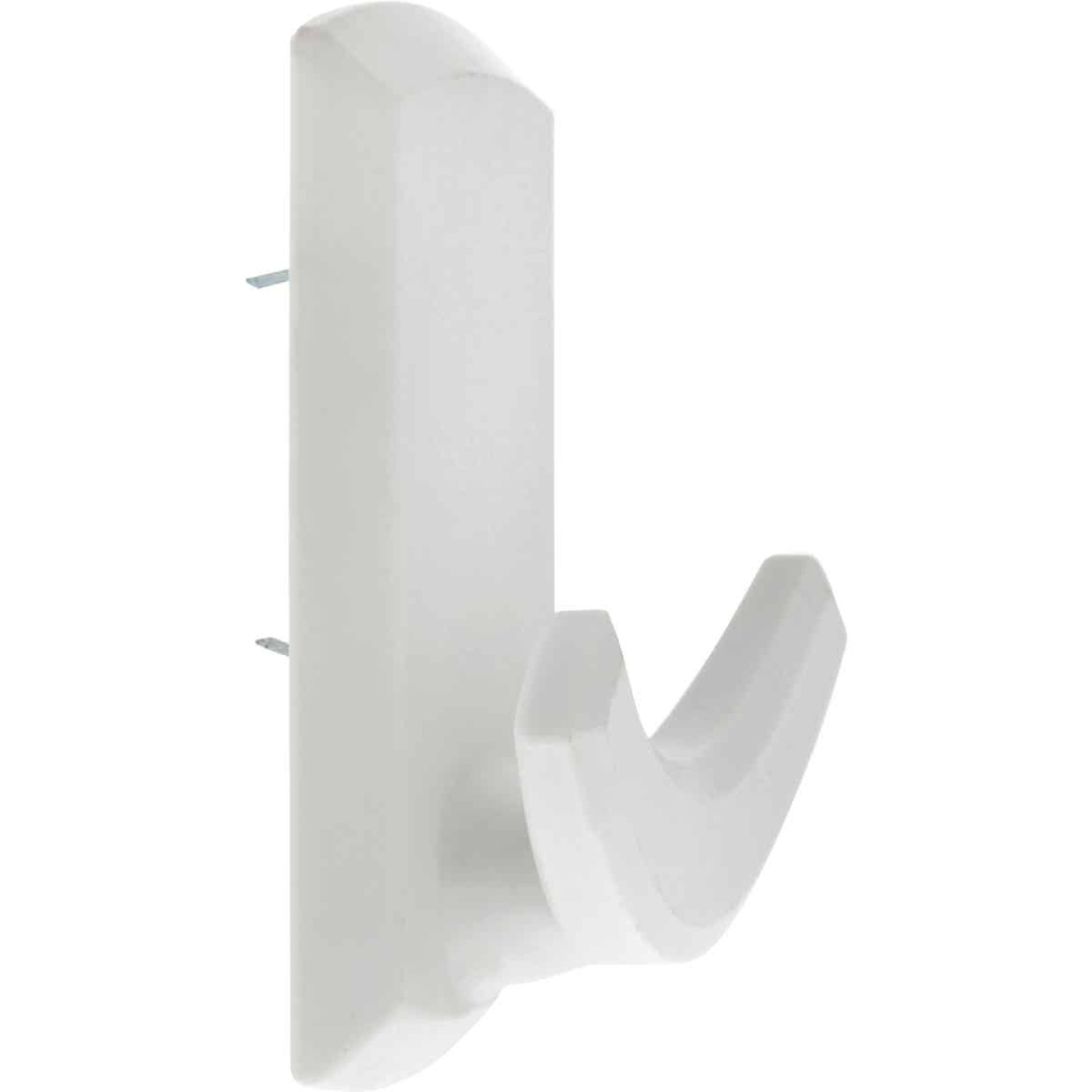 Hillman High and Mighty 20 Lb. Capacity White Rectangular Decorative Double Hook Image 1