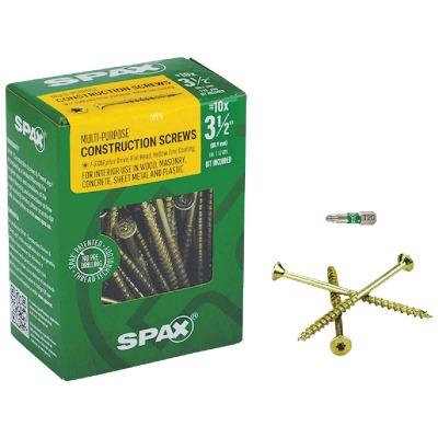 Spax #10 x 3-1/2 In. Flat Head Interior Multi-Material Construction Screw (1 Lb. Box)