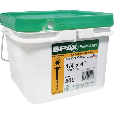 Spax PowerLags 1/4 In. x 4 In. Washer Head Exterior Structure Screw (500 Ct.)