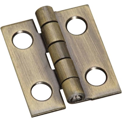 National 3/4 In. x 5/8 In. Antique Brass Narrow Decorative Hinge (2-Pack)