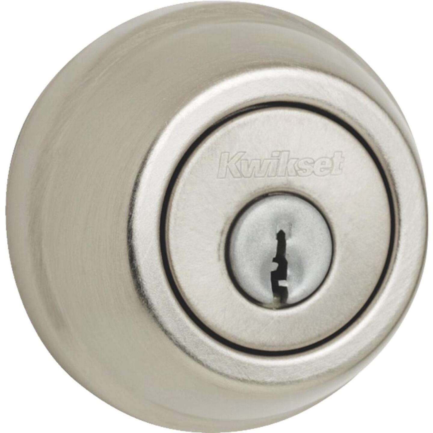 Kwikset Satin Nickel Adjustable Latch Double Cylinder Deadbolt Image 1