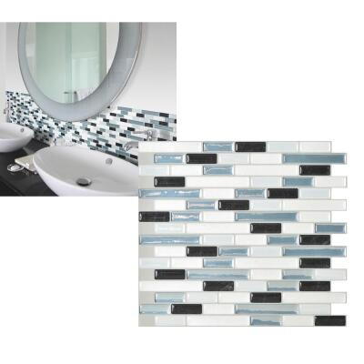 Smart Tiles 10.2 In. x 9.1 In. Glass-Like Plastic Backsplash Peel & Stick, Muretto Brina Mosaic