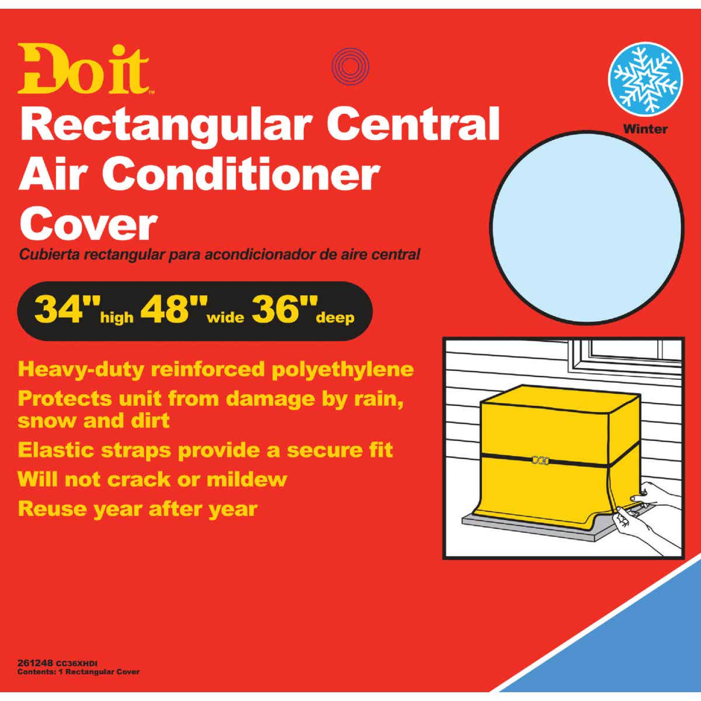 "Do it 48"" x 34"" x 36"" Gray Polyethylene 9 mil Rectangular Central Air Conditioner Cover Image 1"