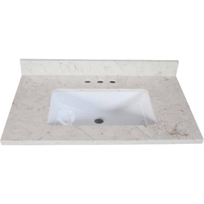 Design House 37 In. W x 22 In. D Giallo Quartz Vanity Top with Wave Bowl