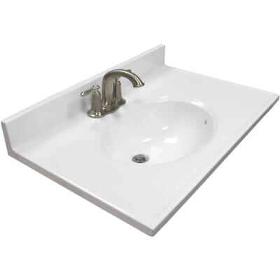Modular Vanity Tops 31 In. W x 19 In. D Solid White Cultured Marble Vanity Top with Oval Bowl