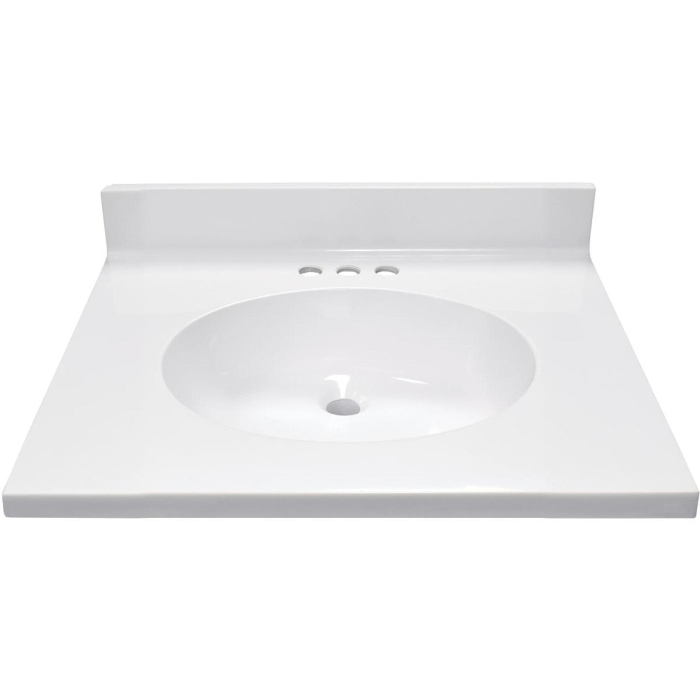 Modular Vanity Tops 25 In. W x 22 In. D Solid White Cultured Marble Vanity Top with Oval Bowl Image 2