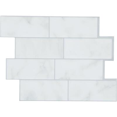 Smart Tiles 8.83 In. x 11.56 In. Glass-Like Plastic Backsplash Peel & Stick, Metro Carrera Subway Tile (6-Pack)