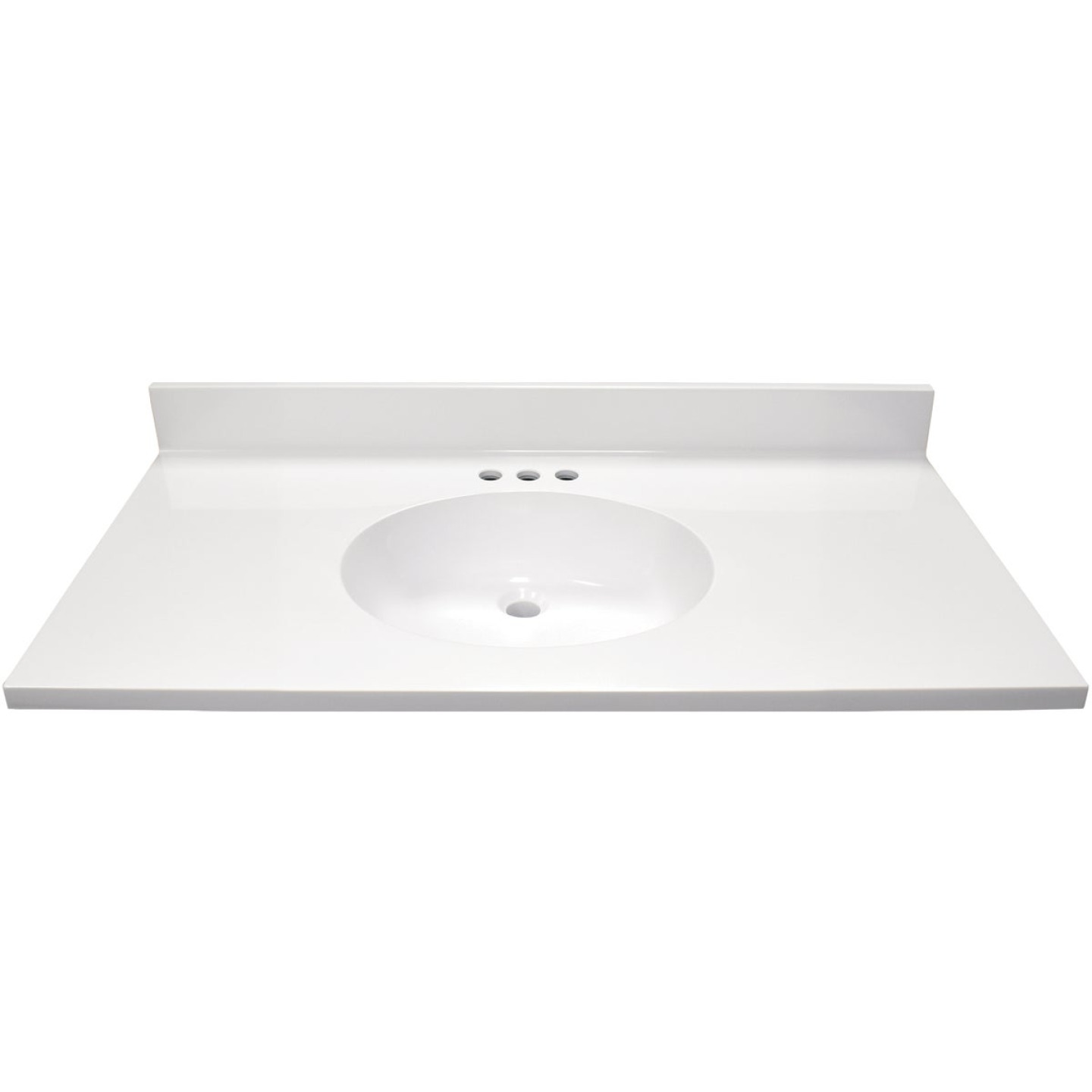 Modular Vanity Tops 37 In. W x 22 In. D Solid White Cultured Marble Flat Edge Vanity Top with Oval Bowl Image 2