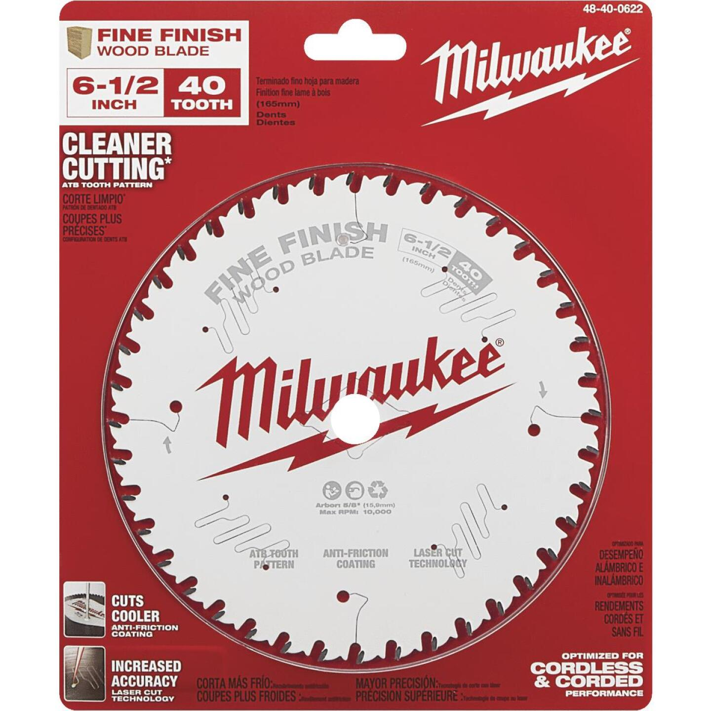Milwaukee 6-1/2 In. 40-Tooth Fine Finish Circular Saw Blade Image 2