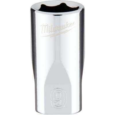 Milwaukee 1/4 In. Drive 9 mm 6-Point Shallow Metric Socket with FOUR FLAT Sides