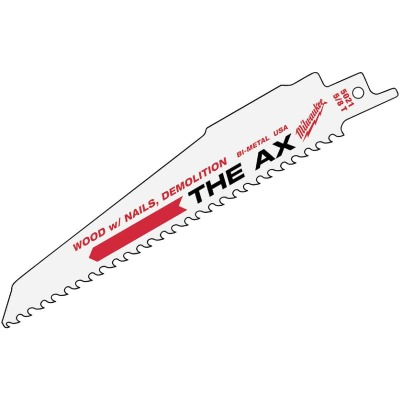 Milwaukee Sawzall THE AX 9 In. 5 TPI Wood w/Nails Demolition Reciprocating Saw Blade (25-Pack)