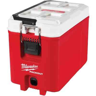 Milwaukee PACKOUT 16 Qt. Compact Cooler, Red/White