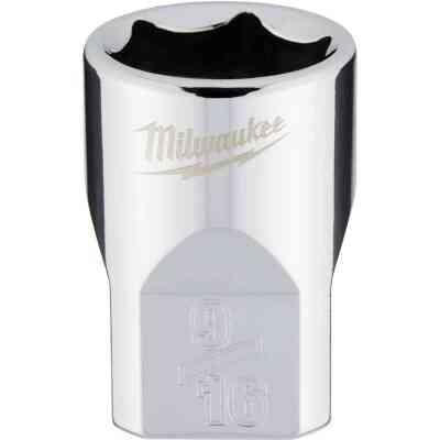 Milwaukee 3/8 In. Drive 9/16 In. 6-Point Shallow Standard Socket with FOUR FLAT Sides