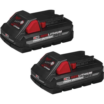 Milwaukee M18 REDLITHUM 18 Volt Lithium-Ion 3.0 Ah High Output CP3.0 Tool Battery (2-Pack)