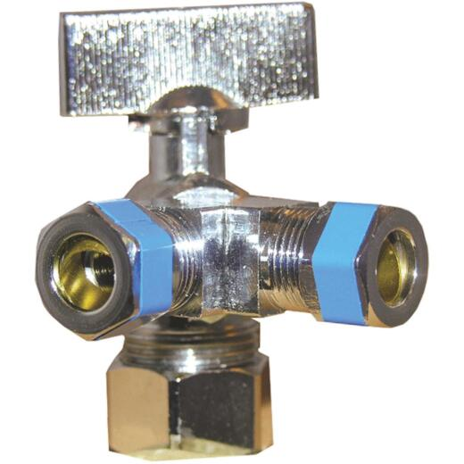 Lasco 5/8 In. C Inletx3/8 In. C Outletx3/8 In. C Outlet 1/4 Turn Angle Valve