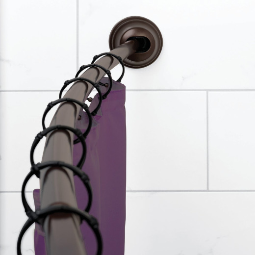 Zenna Home NeverRust 50 In. To 72 In. Adjustable Tension Curved Shower Rod in Bronze