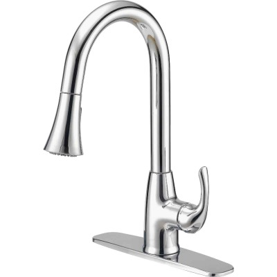 Home Impressions Single Handle Lever Pull-Down Kitchen Faucet with Spray, Chrome