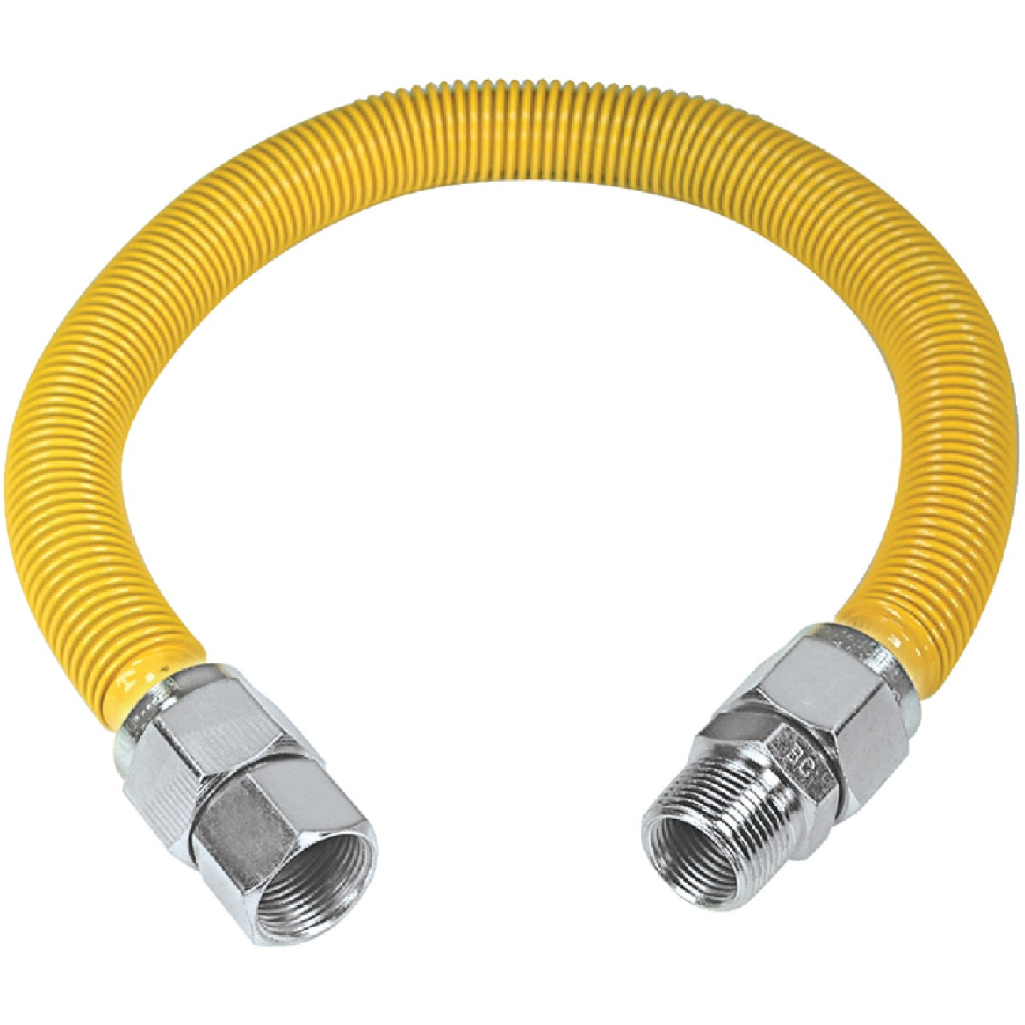 Dormont 1-1/4 In. OD x 36 In. PVC Coated Stainless Steel Gas Connector, 1 In. MIP (Tapped 3/4 In. FIP x 1 In. FIP) Image 1
