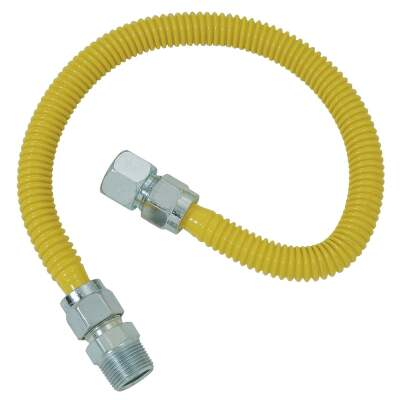 Dormont 5/8 In. OD x 24 In. Coated Stainless Steel Gas Connector, 3/4 In. FIP x 3/4 In. MIP (Tapped 1/2 In. FIP)