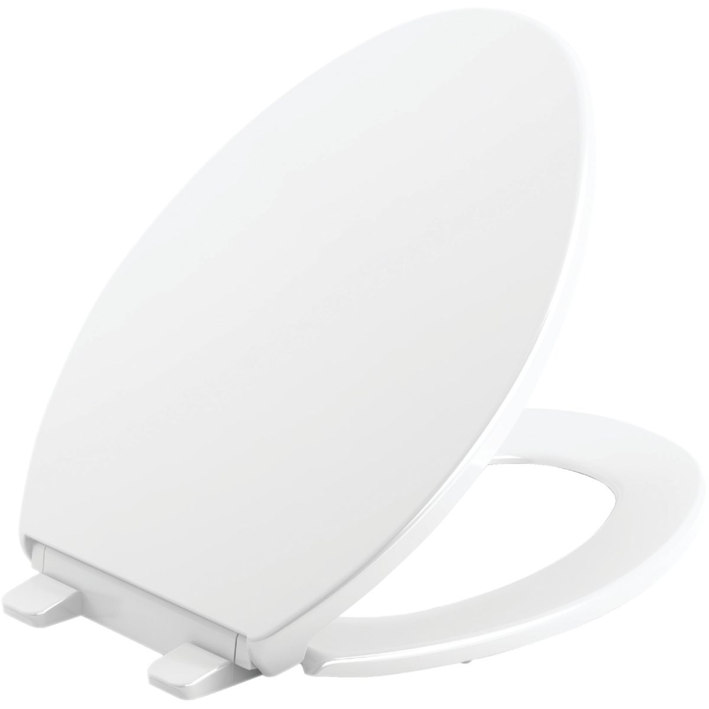 Kohler Brevia Quiet-Close Elongated Closed Front White Toilet Seat with Grip-Tight Bumpers Image 1