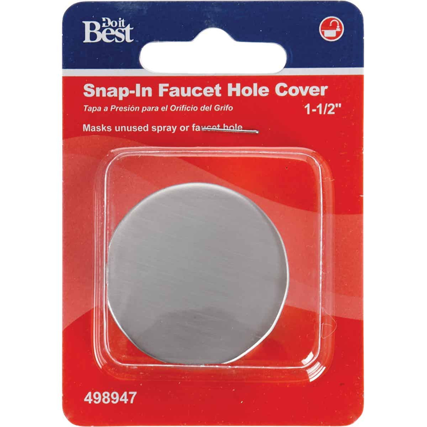 Do it Snap-In 1-1/2 In. Stainless Steel Snap-In Faucet Hole Cover Image 2
