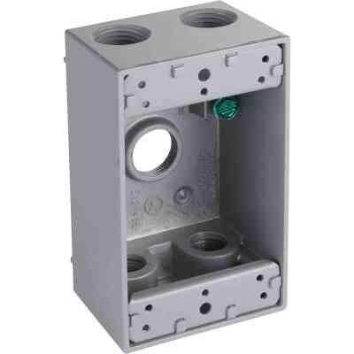 Bell Single Gang 1/2 In. 5-Outlet Gray Aluminum Weatherproof Outdoor Outlet Box