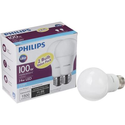 Philips 100W Equivalent Daylight A21 Medium LED Light Bulb (2-Pack)