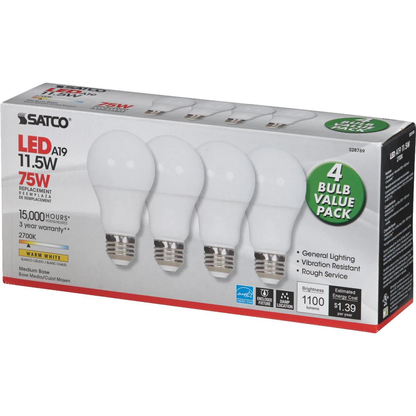 Satco 75W Equivalent Warm White A19 Medium LED Light Bulb (4-Pack) Image 3