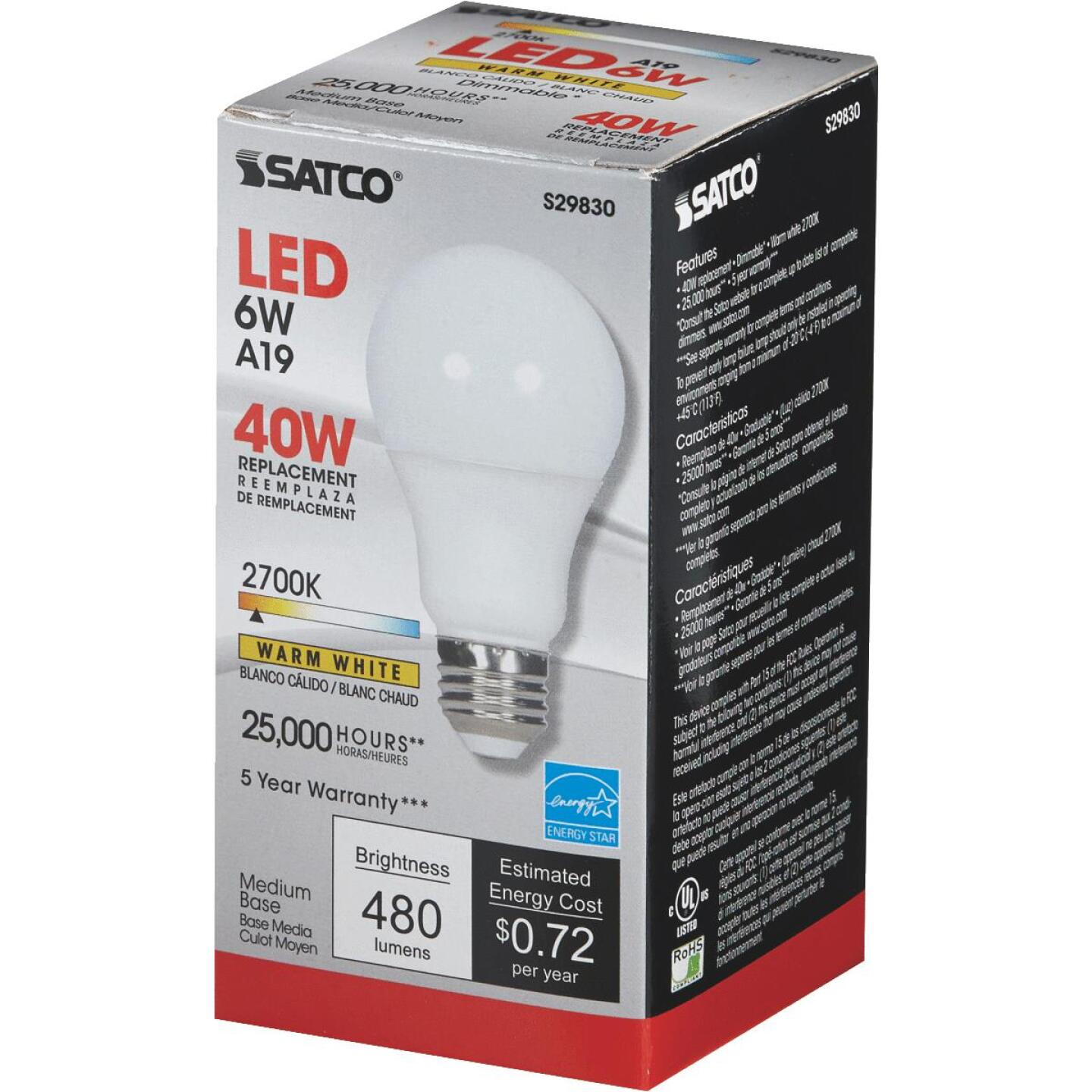 Satco 40W Equivalent Warm White A19 Medium Dimmable LED Light Bulb Image 3