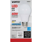 Satco 40W Equivalent Natural Light A19 Medium Dimmable LED Light Bulb Image 2