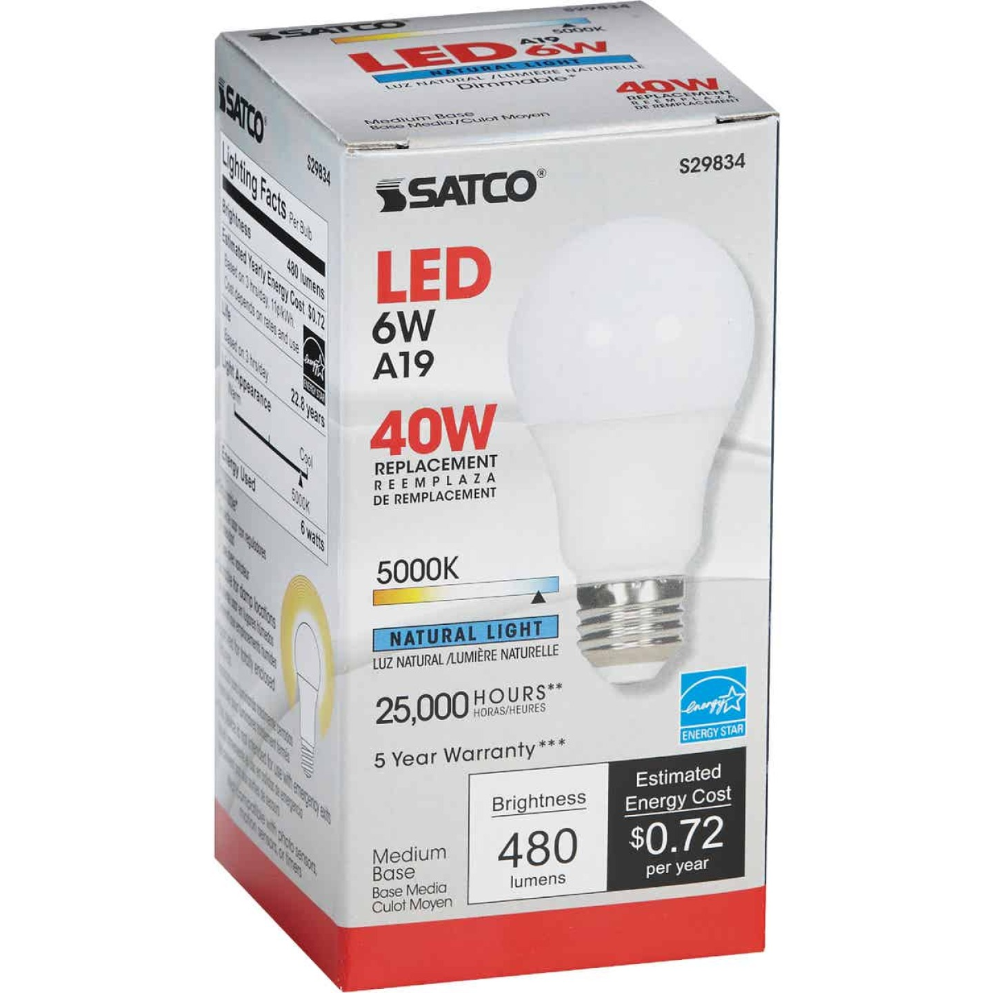 Satco 40W Equivalent Natural Light A19 Medium Dimmable LED Light Bulb Image 4