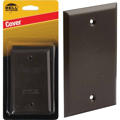 Bell Single Gang Rectangular Die-Cast Metal Bronze Blank Outdoor Box Cover