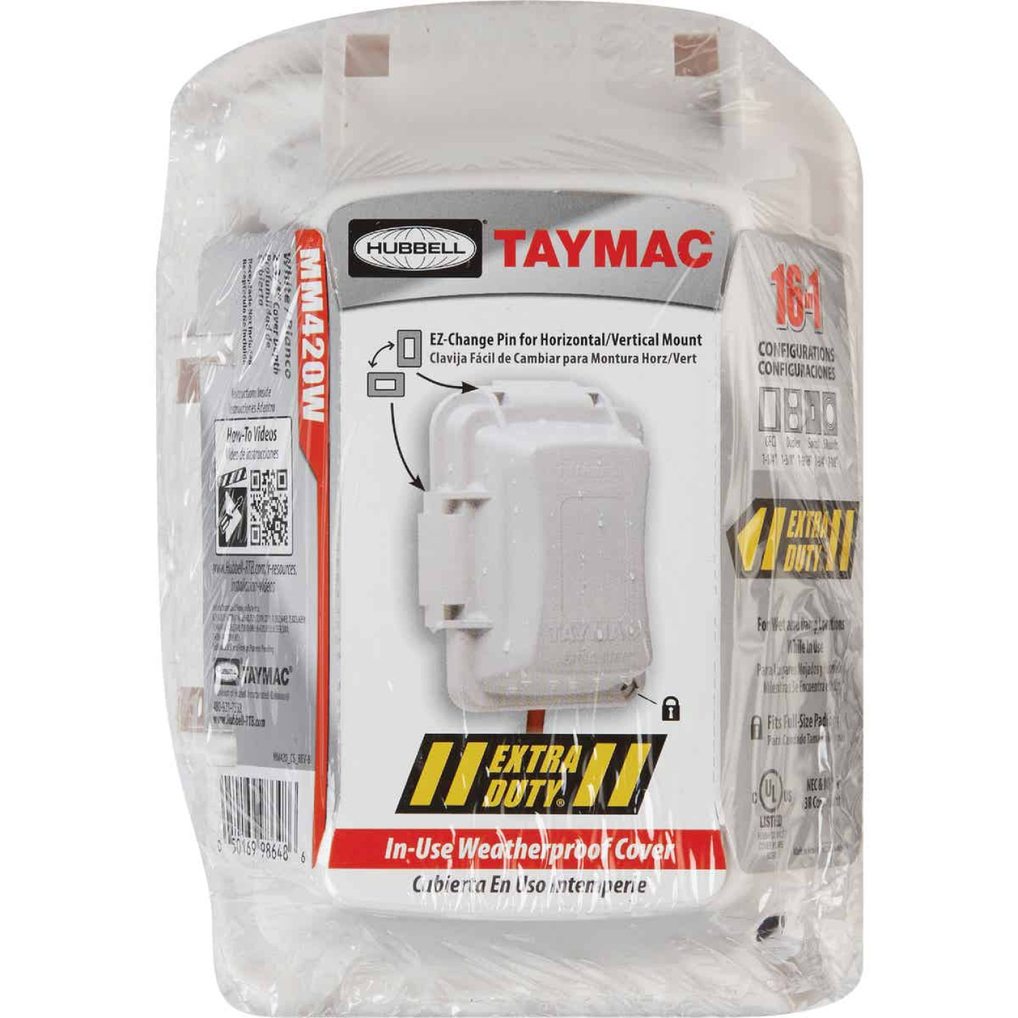 TayMac Extra Duty Single Gang Vertical/Horizontal Mount Polycarbonate White In-Use Outdoor Outlet Cover Image 2