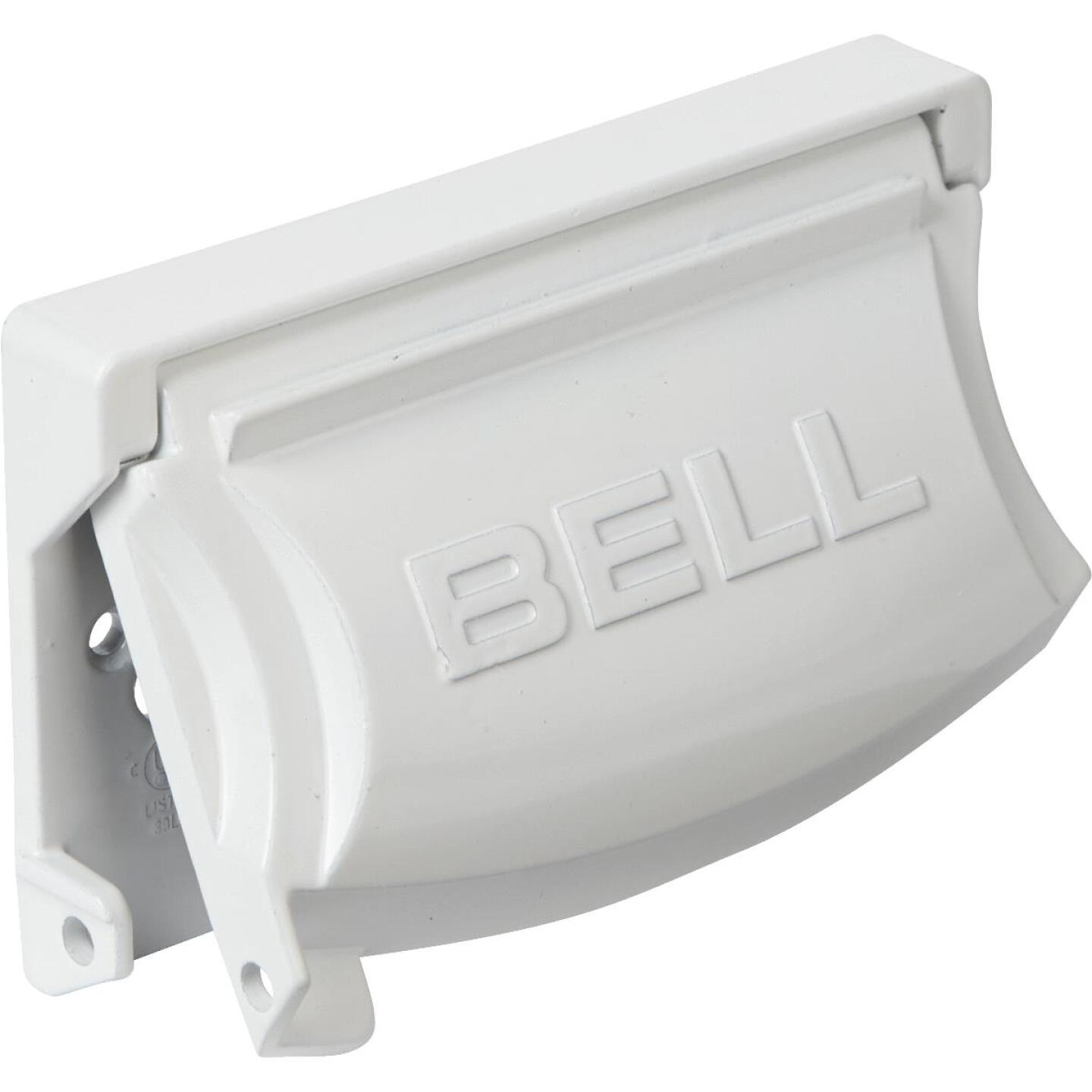 Bell Single Gang Multi-Configuration Die-Cast Metal White Outdoor Outlet Cover Image 1