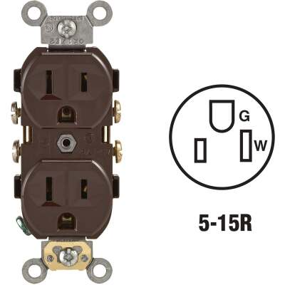 Leviton 15A Brown Commercial Grade 5-15R Duplex Outlet