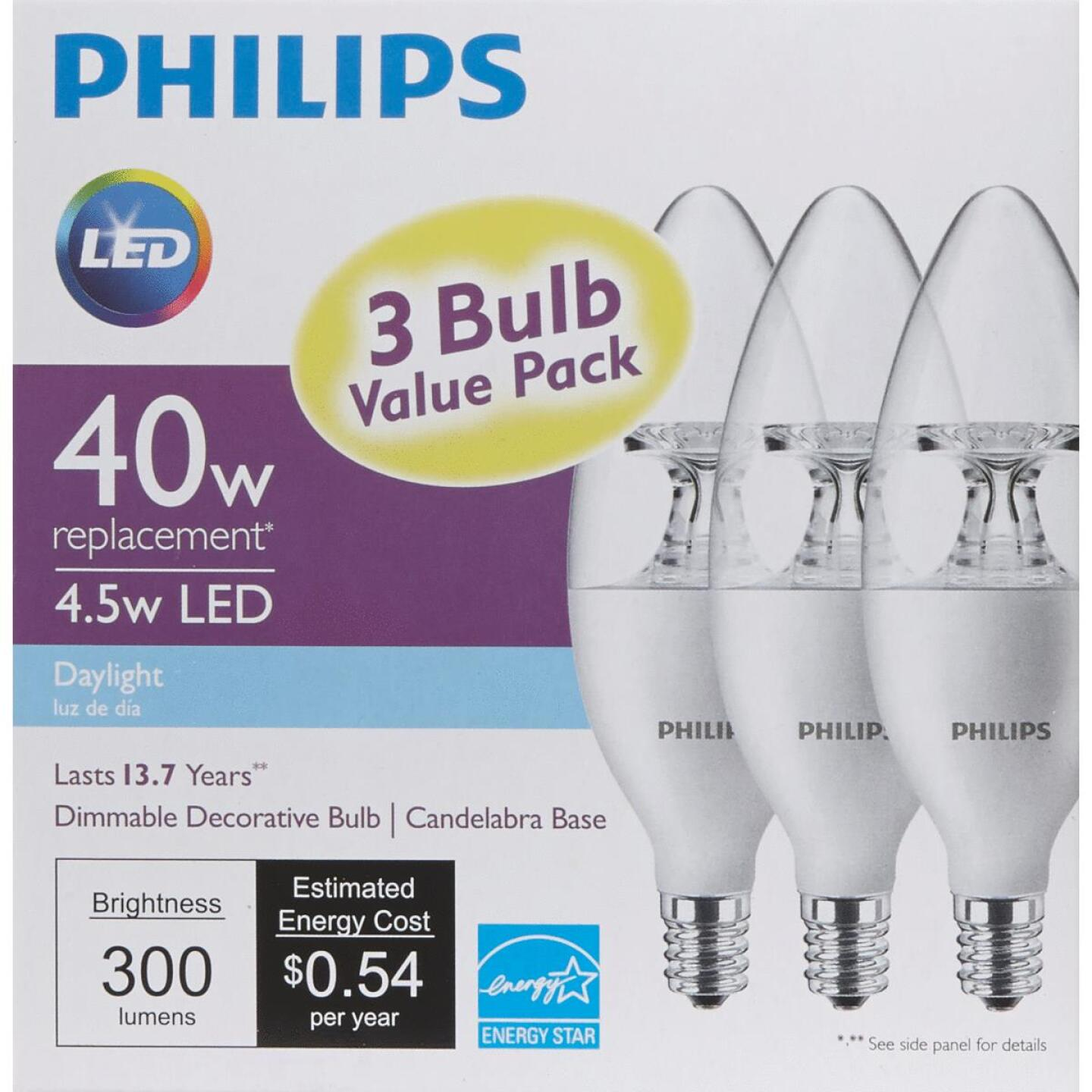 Philips 40W Equivalent Daylight B11 Candelabra Dimmable LED Decorative Light Bulb (3-Pack) Image 5