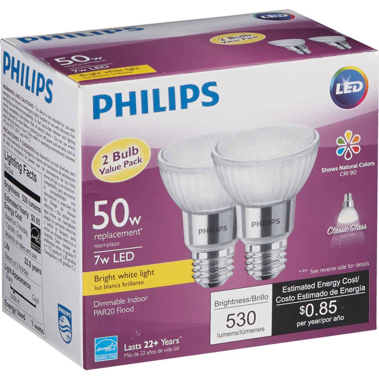 Philips 50W Equivalent Bright White PAR20 Medium Dimmable LED Floodight Light Bulb (2-Pack) Image 4