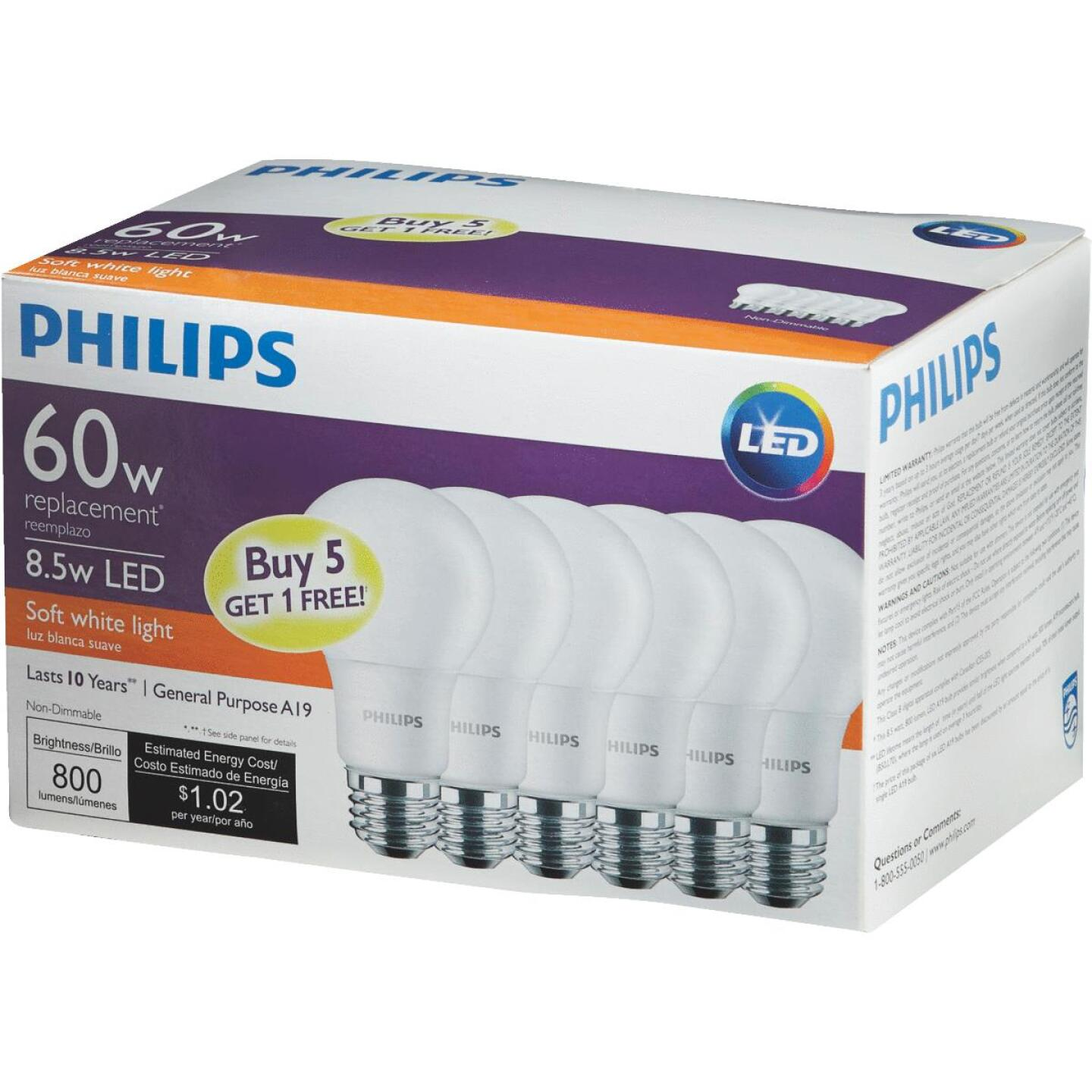Philips 60W Equivalent Soft White A19 Medium LED Light Bulb (6-Pack) Image 3