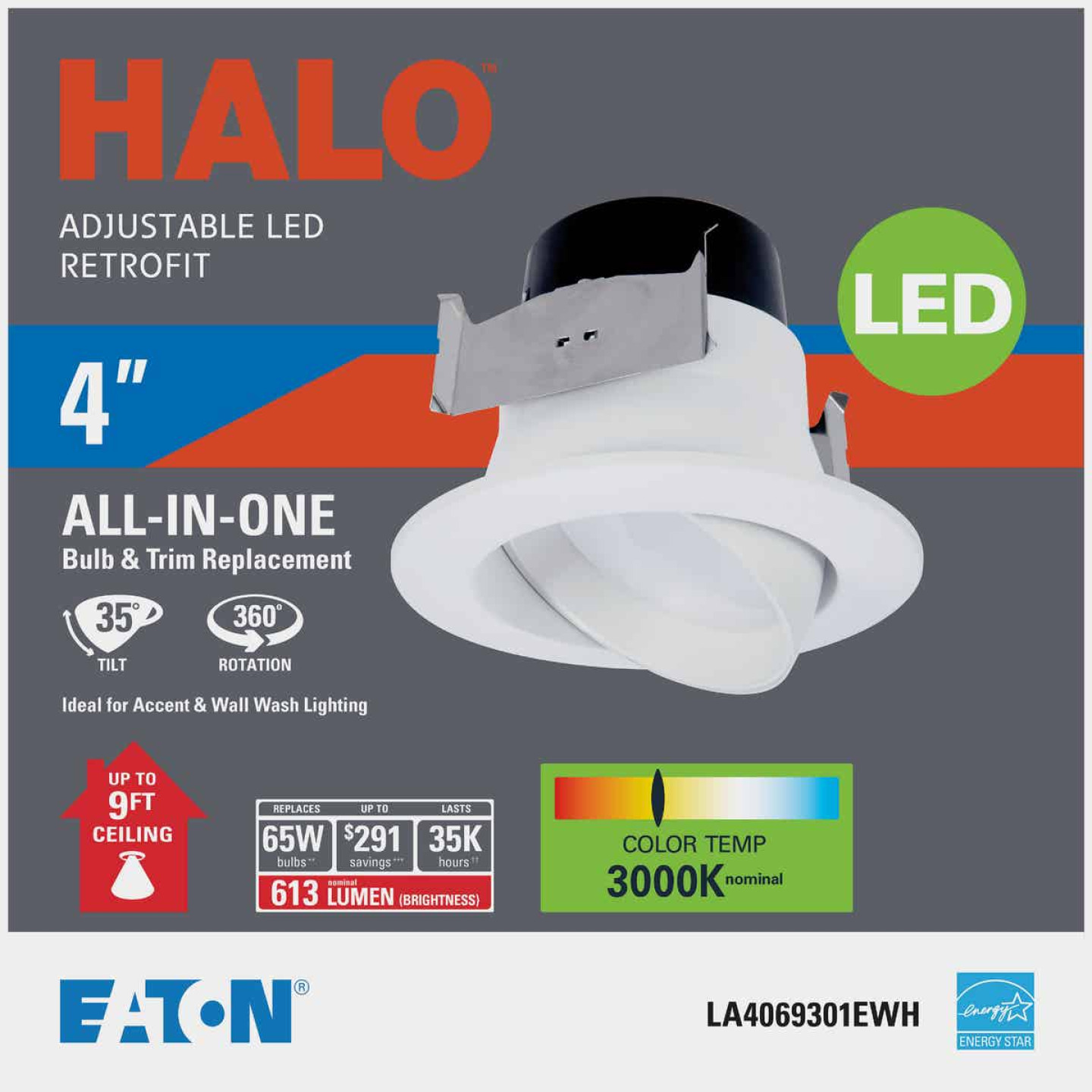 Halo 4 In Retrofit Gimbal 3000K LED Recessed Light Kit 611 Lm. Image 2