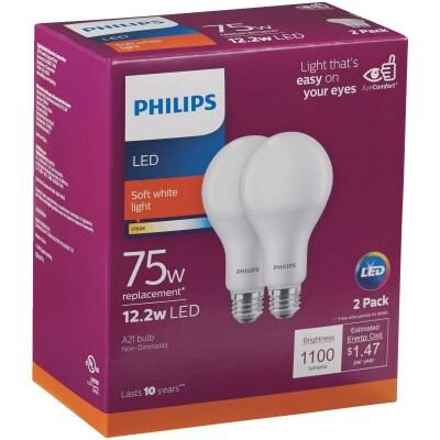 Philips 75W Equivalent Soft White A21 Medium LED Light Bulb (2-Pack)