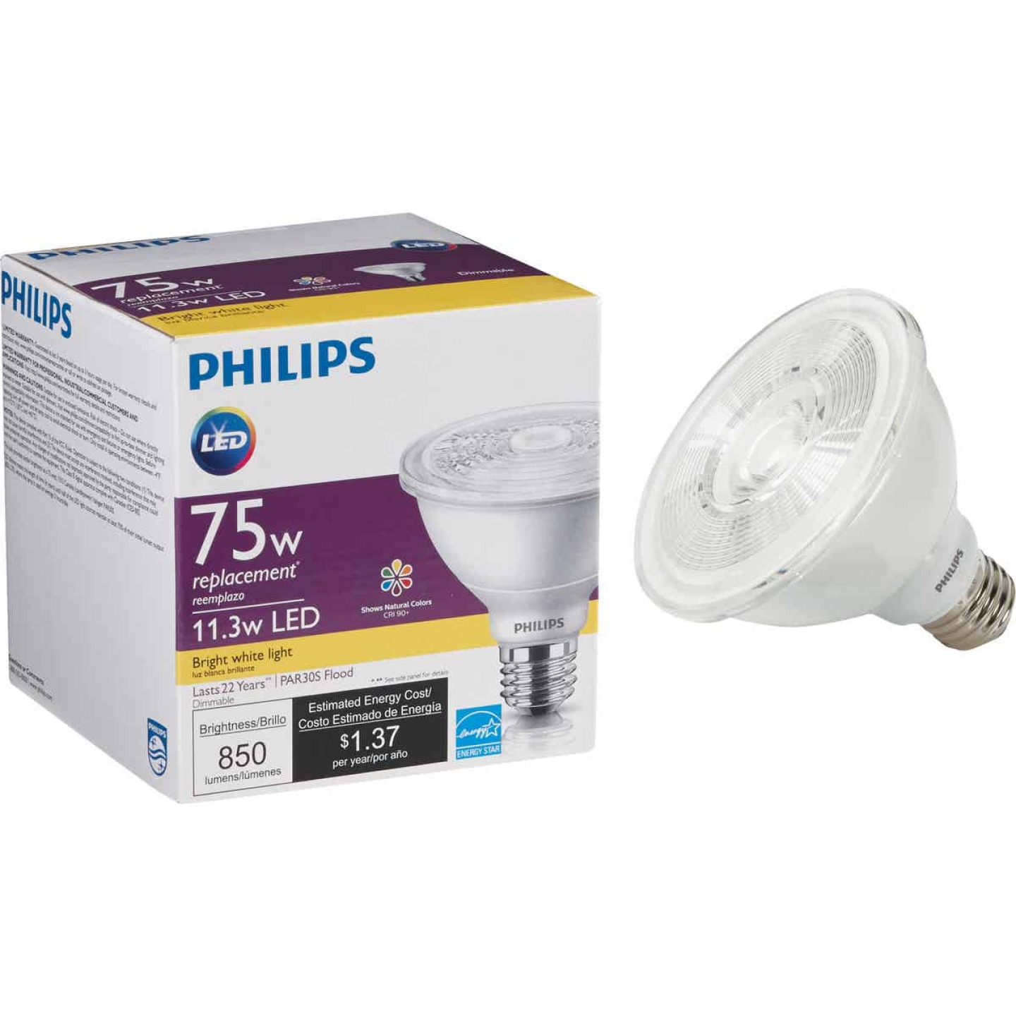 Philips 75W Equivalent Bright White PAR30 Short Neck Medium Dimmable LED Floodlight Light Bulb with 25 Deg. Beam Image 1