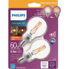 Philips Warm Glow 60W Equivalent Soft White G16.5 Candelabra Dimmable LED Decorative Light Bulb (2-Pack) Image 1