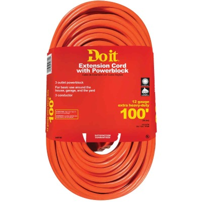 Do it 100 Ft. 12/3 Extension Cord with Powerblock