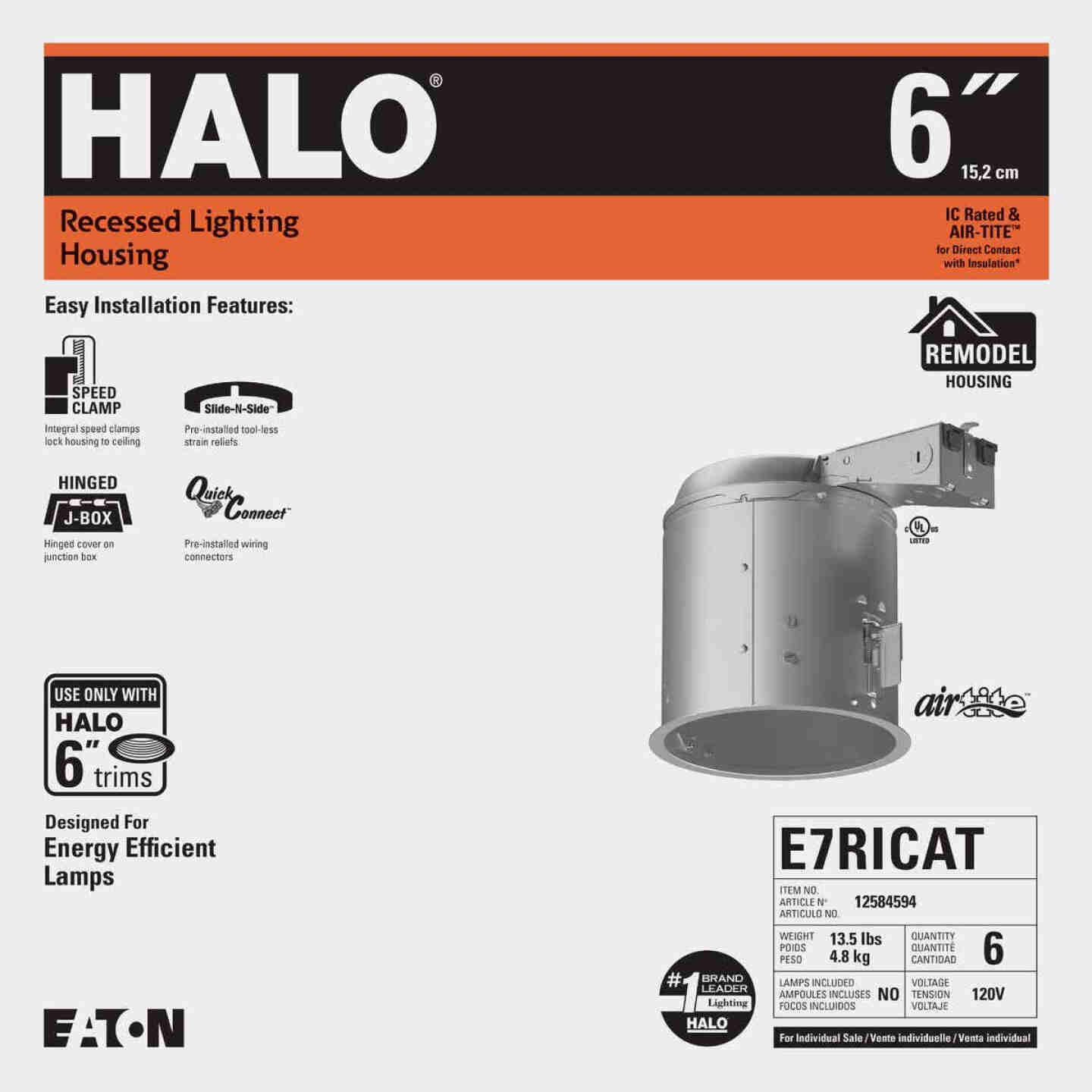 Halo Air-Tite 6 In. Remodel IC/Non-IC Rated Recessed Light Fixture Image 2