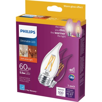 Philips Warm Glow 60W Equivalent Soft White BA11 Medium Dimmable LED Decorative Light Bulb (3-Pack)