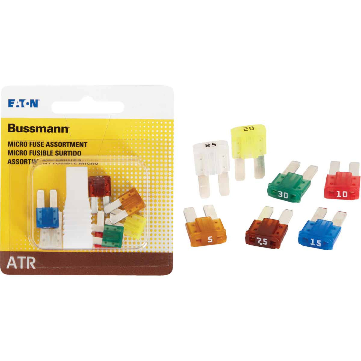 Bussmann ATR (Micro II) Fuse Assortment with Fuse Puller (7-Piece) Image 1