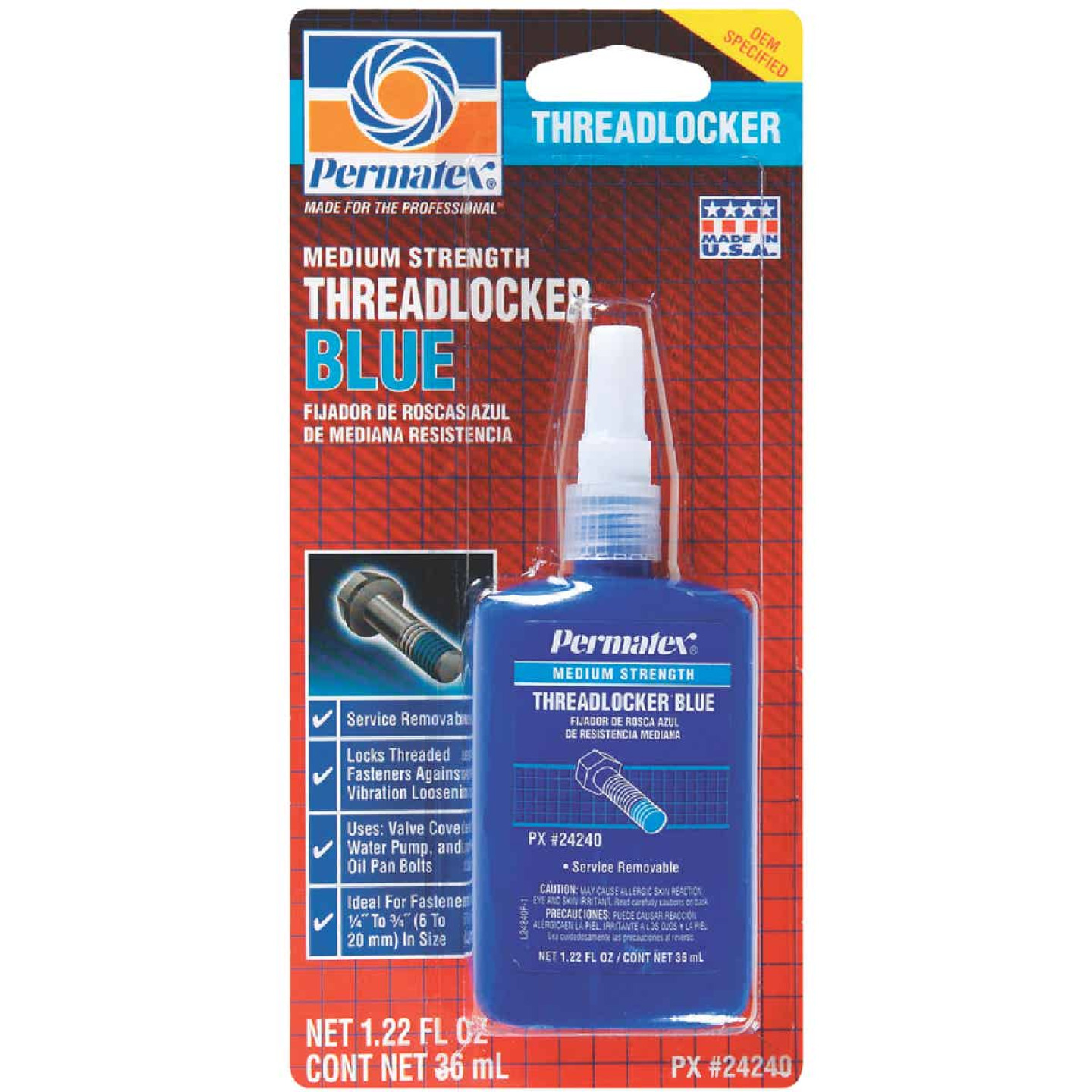 PERMATEX 1.22 Oz. Blue Medium Strength Threadlocker Image 1